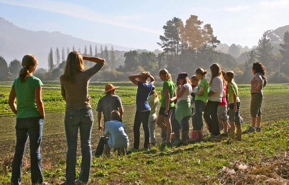 Students and teachers at West Marin farm