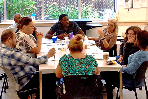 New Resume Project leaders meet at Berkeley READS, the Berkeley Public Library's adult literacy program.